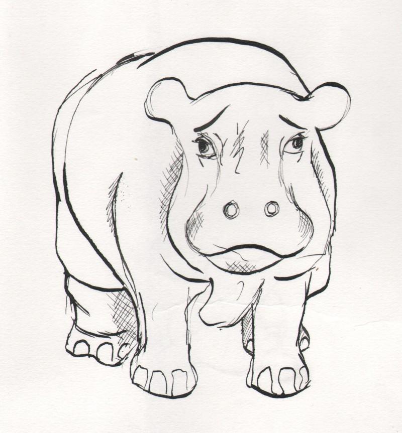 hippo in ink
