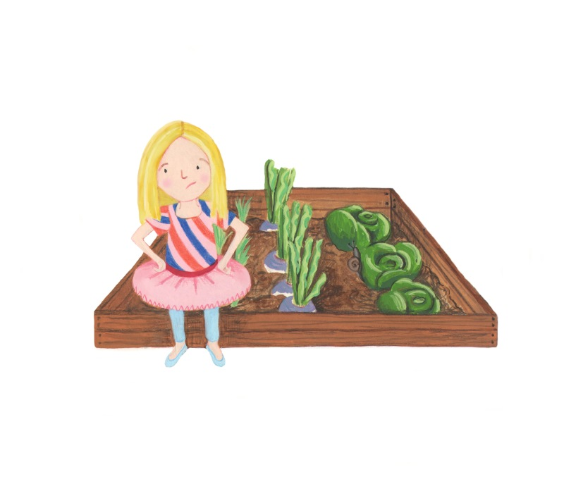 Girl by cabbage patch