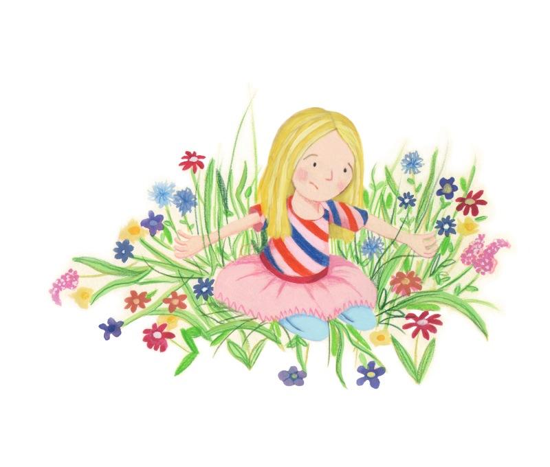 Girl looking in flowers